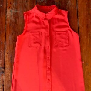 Red button down collar dress Christmas